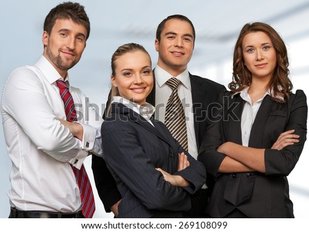 Business. Portrait of happy young businessman - stock photo
