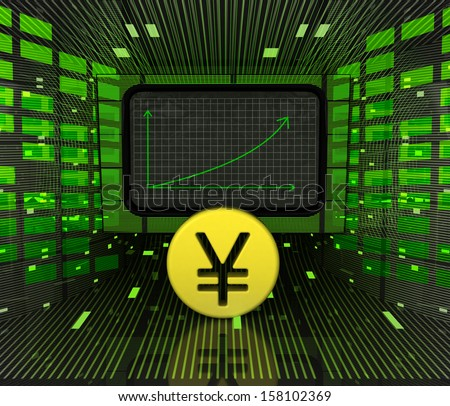 business positive graph forecast or results of yen or yuan currency illustration - stock photo
