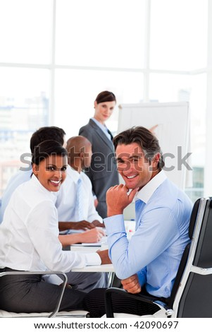 Business presentation at a meeting in an office environment