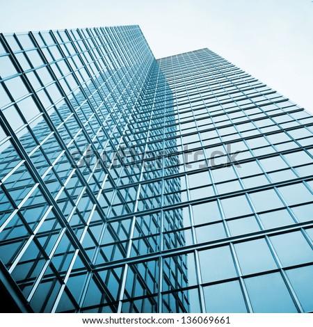 business presentation background; skyscraper glass reflection - stock photo