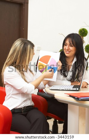 business presentation by happy young businesswomen at a modern office