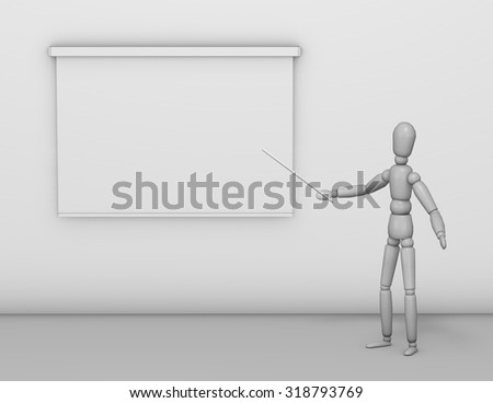 Business presentation illustration with lecturer showing information on board. - stock photo