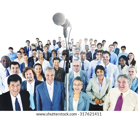 Business Presentation Speech Microphone Group Crowd - stock photo