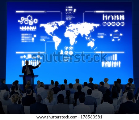 Business Presentation with Infographic - stock photo