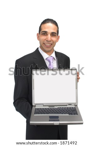 business presentation with laptop - stock photo