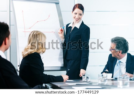 Business - presentation within a team in office, a colleague is standing on the flipchart - stock photo