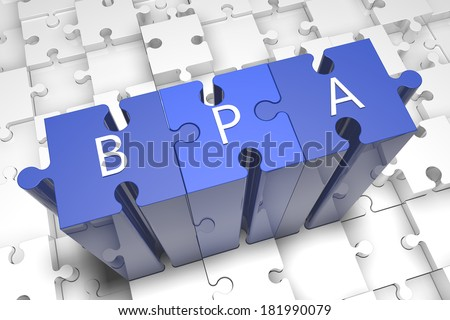 Business Process Analysis - puzzle 3d render illustration with text on blue jigsaw pieces stick out of white pieces