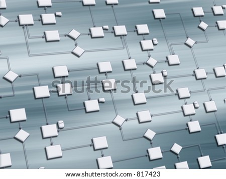 Business process 3D on blue background - stock photo