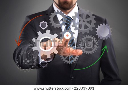 Business Process, interface with cogwheels - stock photo