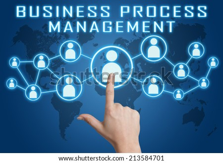 Business Process Management concept with hand pressing social icons on blue world map background. - stock photo