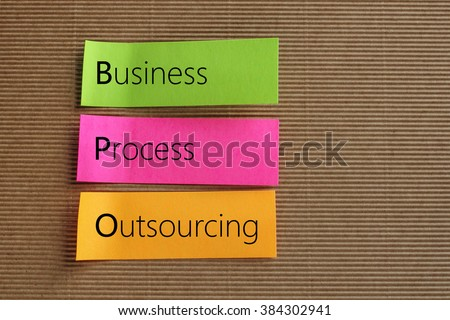 Business Process Outsourcing (BPO) text on colorful sticky notes - stock photo