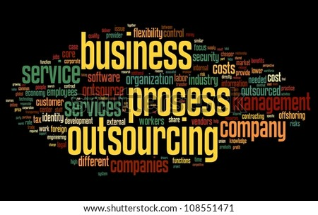 Business process outsourcing concept in word tag cloud on black background - stock photo