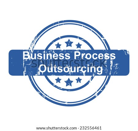 Business Process Outsourcing concept stamp with stars isolated on a white background. - stock photo