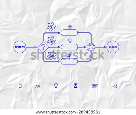 Business process sketch in blue color on Crumpled paper background - stock photo