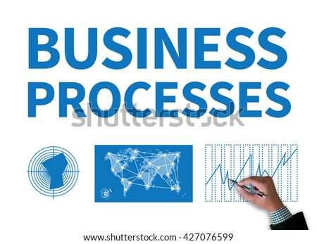 BUSINESS PROCESSES businessman work on white broad, top view - stock photo