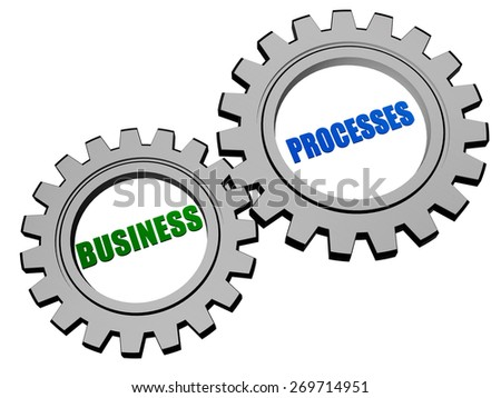 business processes - text in 3d silver grey metal gear wheels, business workflow concept words - stock photo