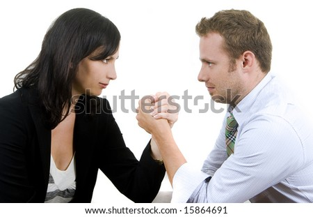 Business professionals arm wrestling - stock photo