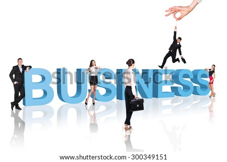 Business - professionals  in business clothes walk close to text. - stock photo