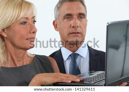 Business professionals looking at a website - stock photo