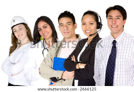 business professionals over a white background - job search - stock photo