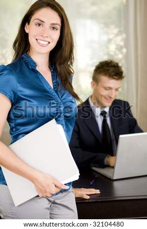 Business professionals working in an office
