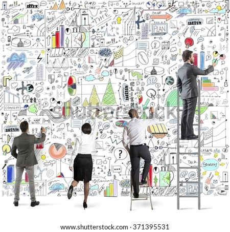 Business project on wall - stock photo