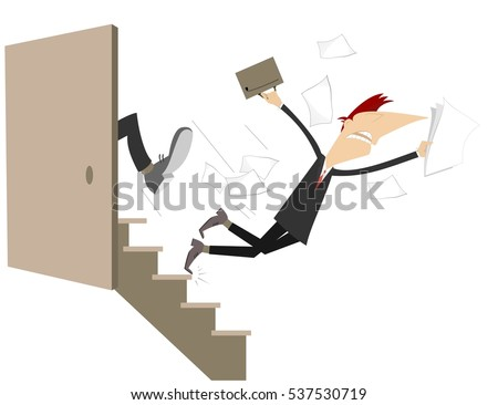 Business punish concept illustration. A man is given a kick to the ass and falls down the stairs
