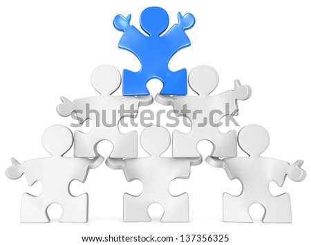 Business Pyramid. Puzzle people x 6 in Pyramid Formation. Blue. - stock photo