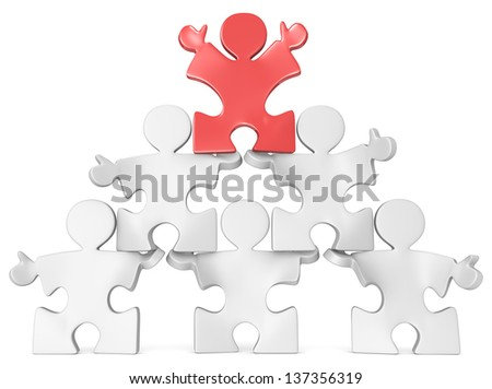 Business Pyramid. Puzzle people x 6 in Pyramid Formation. Red. - stock photo