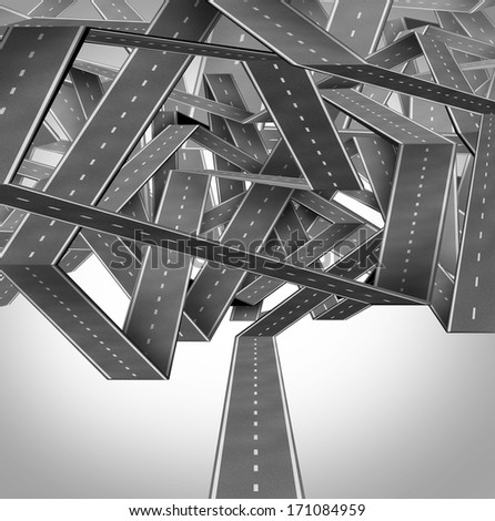 Business quagmire and entanglement concept with a group of three dimensional roads or highways tangled in a confused traffic crossroads jam as a metaphor for strategic difficulty. - stock photo