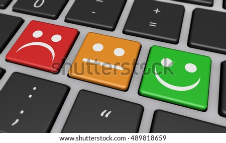 Business quality customer experience feedback, rating and survey keys with symbols and icons on computer keyboard 3D illustration.