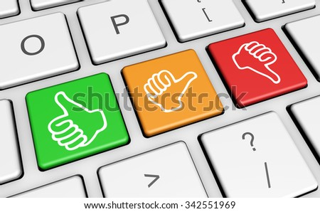 Business quality service customer feedback, rating and survey keys with hands thumb up symbol and icon on computer keyboard.
