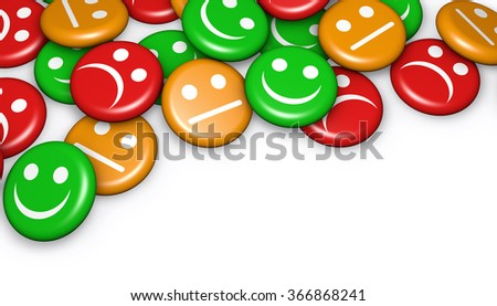 Business quality service customer feedback, rating and survey with happy and not smiling face emoticon symbol and icon on badges button with copyspace.