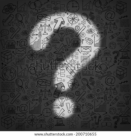 Business questions concept as a dark wall of financial icons and symbols with an illuminated light shaped as a question mark as a metaphor for finding answers and direction. - stock photo