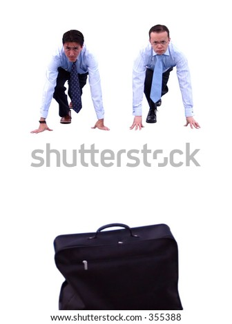 business race between two people - stock photo