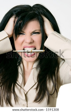 Business Rage - Overworked and over it! - stock photo