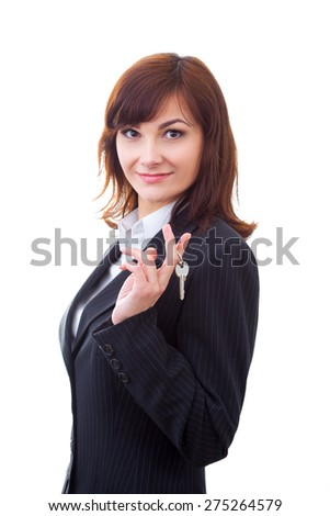 business, real estate and banking concept - smiling businesswoman with house keys - stock photo