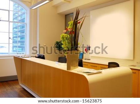 business receptionist - stock photo