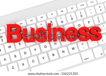Business red letters on a white keyboard