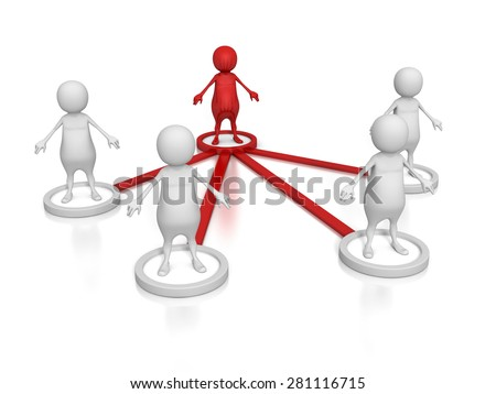 Business Relationship Structure Concept 3d People Team Group. Red Leader Man. 3d Render Illustration