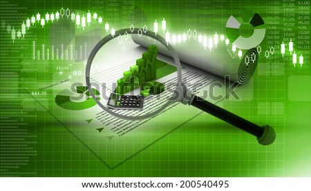 business report with magnifying glass - stock photo