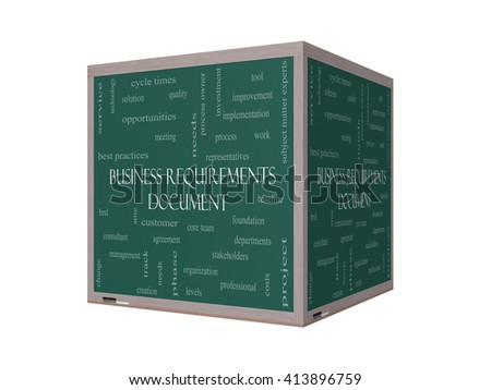 Business Requirements Document Word Cloud Concept on a 3D Blackboard with great terms such as solution, quality, project, baseline and more. - stock photo