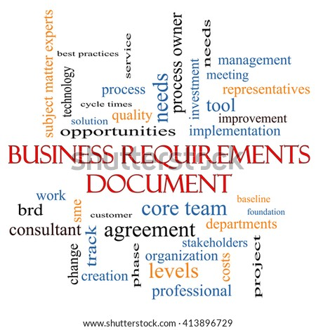 Business Requirements Document Word Cloud Concept with great terms such as solution, quality, project, baseline and more.