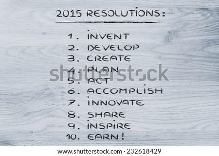 business resolutions and goals for the new year 2015 - stock photo