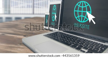 business, responsive design and technology concept - close up of laptop computer, tablet pc, notebook and smartphone with scheme and menu icons on wooden table. 3d rendering - stock photo