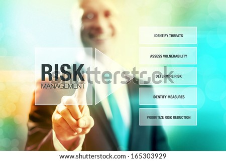 Business risk management concept man pointing interface - stock photo