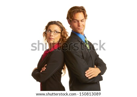 business rivalry competition between business man and woman isolated on white background. - stock photo
