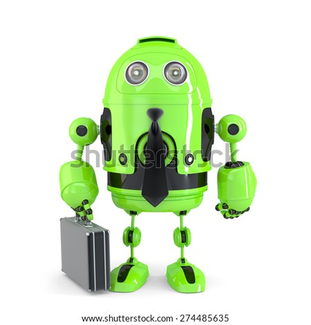 Business robot. Technology concept. Isolated over white. Contains clipping path - stock photo