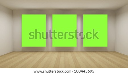 Business room, 3d art with empty space, three green chroma key frames - stock photo