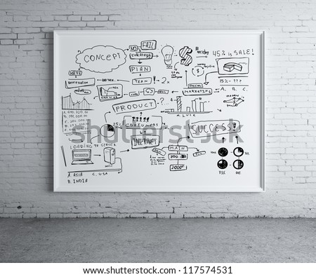 business scheme on poster in brick room - stock photo